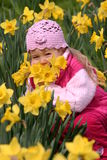 Bambino in daffodils gialli Fotografia Stock