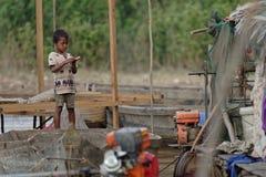 Bambino dalla linfa di Tonle, Cambogia Fotografia Stock Libera da Diritti