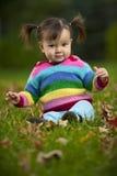 Bambino del bambino che si siede sull'erba nella stagione di caduta Fotografia Stock