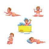 Bambino del bambino, routine quotidiana dell'infante - mangi, dorma, bagno, il grido, movimento strisciante Fotografia Stock Libera da Diritti