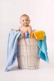 Bambino del cestino di lavanderia Fotografia Stock Libera da Diritti