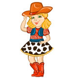 Bambino del cowgirl isolato su bianco. royalty illustrazione gratis