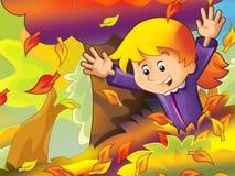 Bambino del fumetto che gioca nella sosta - autunno Immagine Stock Libera da Diritti