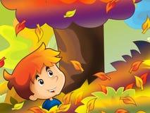 Bambino del fumetto che gioca nella sosta - autunno Immagine Stock