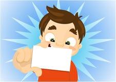 Bambino del fumetto che tiene un biglietto da visita in bianco Fotografia Stock