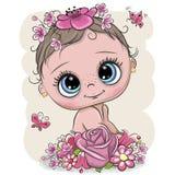 Bambino del fumetto con flowerson un fondo bianco royalty illustrazione gratis