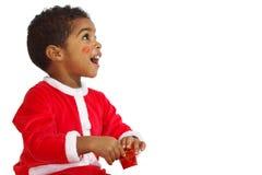 Bambino del mulatto su una priorità bassa bianca Fotografia Stock