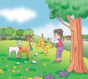 Bambino del pastore sul prato Illustrazione di Stock