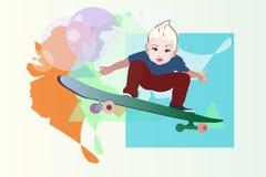 Bambino del ragazzo dell'illustrazione di vettore da pattinare Immagini Stock Libere da Diritti