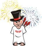 Bambino del `s di nuovo anno con i fuochi d'artificio Immagine Stock Libera da Diritti