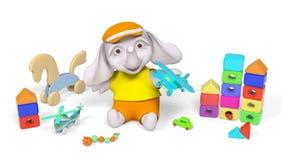 Bambino dell'elefante che gioca con la rappresentazione dei giocattoli 3d royalty illustrazione gratis