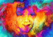 Bambino della dea nello spazio cosmico Fondo cosmico dello spazio Contatto oculare Effetto di fuoco illustrazione vettoriale