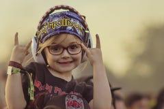 Bambino della roccia con i corni su fotografia stock