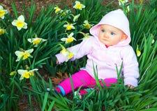 Bambino della sorgente in daffodils Immagine Stock Libera da Diritti