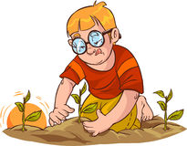 Bambino delle piantine dell'albero Fotografia Stock