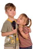 Bambino di canto Immagine Stock