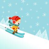 Bambino di corsa con gli sci Immagine Stock