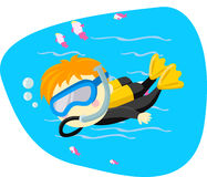 Bambino di immersione con bombole Fotografia Stock