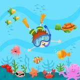 Bambino di immersione subacquea Fotografia Stock