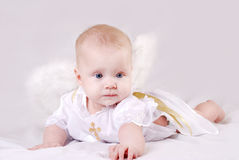 Bambino di menzogne con le ali di angelo Fotografie Stock