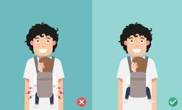 Bambino di migliori e posizioni peggiori per la prevenzione di displasia dell'anca royalty illustrazione gratis
