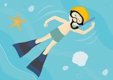 Bambino di nuoto con la mascherina della presa d'aria Immagini Stock Libere da Diritti