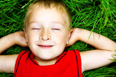 Bambino di sogno felice su erba fresca Immagini Stock Libere da Diritti