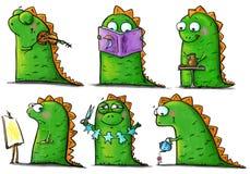Bambino-dinosauri divertenti alle arti ed alla lezione dei mestieri illustrazione vettoriale