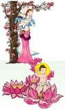 Bambino disegnato a mano Buddha sopportato con Lotus e la madre Fotografia Stock Libera da Diritti