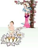 Bambino disegnato a mano Buddha sopportato con Lotus e la madre Fotografie Stock Libere da Diritti