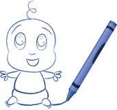 Bambino dissipato da Crayon - illustrazione di vettore Fotografia Stock