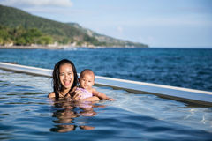 Bambino divertendosi nella piscina con la madre Fotografia Stock Libera da Diritti