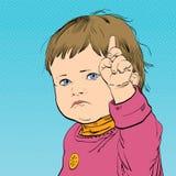 Bambino divertente del fumetto con un'espressione arrabbiata sul suo fronte Immagini Stock