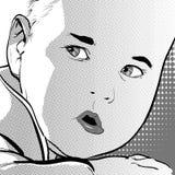 Bambino divertente del fumetto di vettore con un'espressione pensierosa sul suo fronte Fotografia Stock
