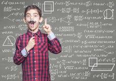 Bambino divertente del genio di per la matematica Fotografia Stock