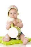 Bambino dolce con la latta di innaffiatura Immagini Stock