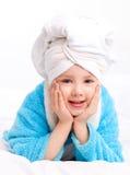 Bambino dopo l'acquazzone Fotografia Stock Libera da Diritti