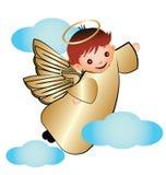 Bambino dorato di angelo con le nuvole Fotografia Stock Libera da Diritti