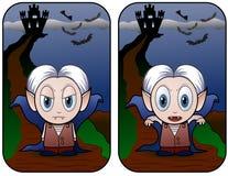Bambino e castello del vampiro Immagine Stock