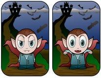 Bambino e castello del vampiro Fotografia Stock