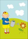 Bambino e fiore piacevole Immagine Stock