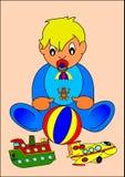 Bambino e giocattoli Fotografie Stock