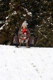 Bambino e mamma che sledding immagini stock libere da diritti