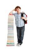 Bambino e mucchio dei libri Fotografia Stock Libera da Diritti