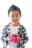 Bambino e presente Fotografia Stock