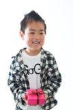 Bambino e presente Fotografia Stock Libera da Diritti