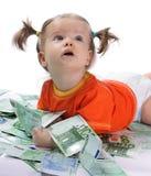 Bambino ed euro. Fotografie Stock Libere da Diritti