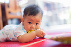 Bambino ed il giocattolo di gomma Immagine Stock