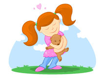Bambino ed il suo Teddy BearIllustration Fotografia Stock