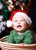 Bambino felice alla notte di Natale fotografia stock libera da diritti